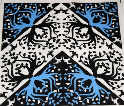 Counterchange Tree Bird Blue and Black Chevron