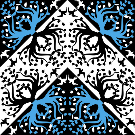 Counterchange Tree Bird Blue and Black Chevron fabric by eclectic_house on Spoonflower - custom fabric