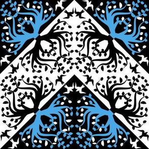 Counterchange Tree Bird Blue and Black Chevron