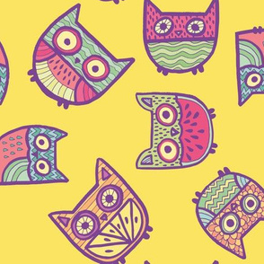 fruity owls in yellow