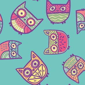 fruity owls in turquoise