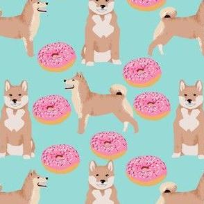 shiba inu dog cute donut fabric mint sweet dogs pets pet dog fabric
