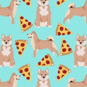 shiba inu pizza mint cute dog pets cute dog fabric sweet dogs cute dog