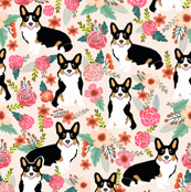 corgi black and tan tri colored welsh cardigan corgi fabric cute corgi design