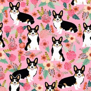 corgi tri colored cute dog pink florals flowers corgi best corgi fabric