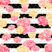 Watercolor Floral Pink Peony Stripes & Gold Dots