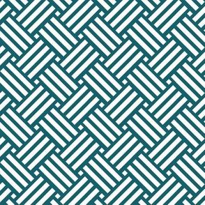 Geometric Basket Weave - Ocean