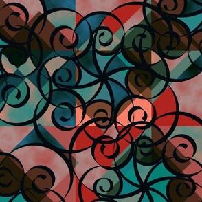 Diamond Swirl Red Green Black Coral