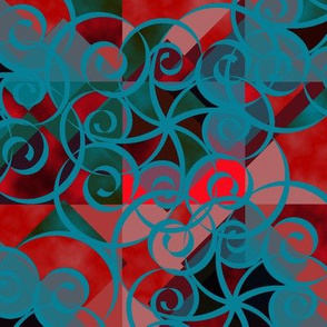 Diamond Swirl Red Green Aqua