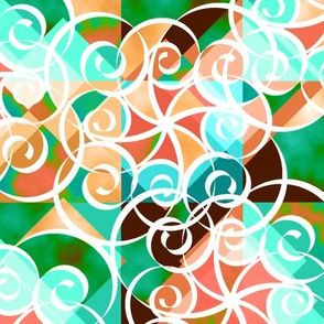 Diamond Swirl Green Brown Peach Aqua