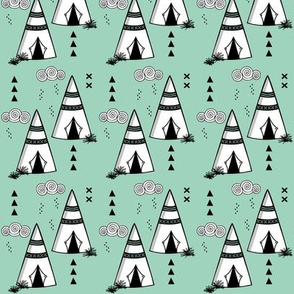 Teepee // Mint and black