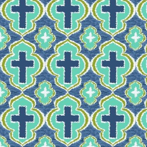 Christian Cross  Blue and Green