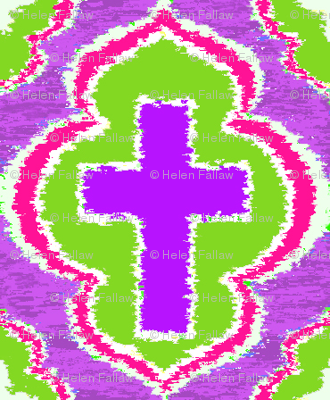 Christian Cross Purple and Green