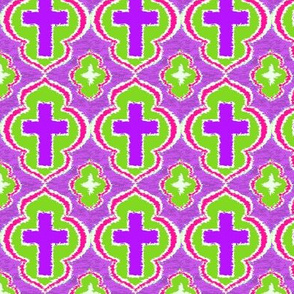 Christian Cross Purple and Green