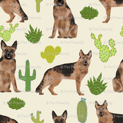 German Shepherd dog cute pet dog fabric cactus desert neutral dog fabric cute southwest dog fabric