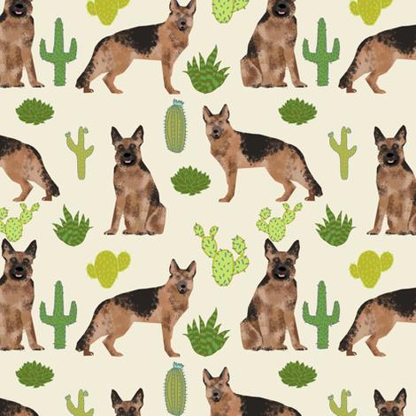 German Shepherd dog cute pet dog fabric cactus desert neutral dog fabric cute southwest dog fabric fabric by petfriendly on Spoonflower - custom fabric