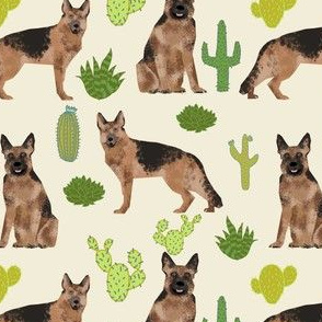 German Shepherd dog cute pet dog fabric cactus desert neutral dog fabric cute southwest dog fabric