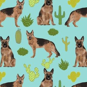 German Shepherd dog fabric mint cactus cute dog dogs pet dog fabric cacti