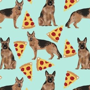 german shepherd pizza mint cute food fabric for dog owners dog lovers cute dog fabric