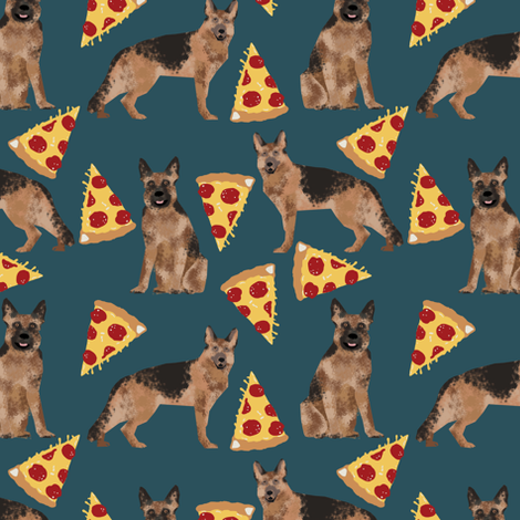 german shepherd pizza navy blue dark navy food cute dog dogs novelty food print fabric by petfriendly on Spoonflower - custom fabric