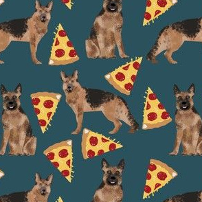 german shepherd pizza navy blue dark navy food cute dog dogs novelty food print