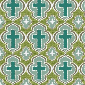 Christian Cross Blue and sage green