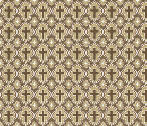 Christian Cross Taupe fabric by rickrackscissorsstudio on Spoonflower - custom fabric