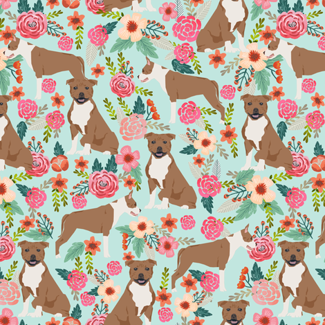 staffordshire terrier dog fabric cute florals vintage flowers floral pet pets sweet smiling dogs fabric by petfriendly on Spoonflower - custom fabric