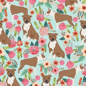 staffordshire terrier dog fabric cute florals vintage flowers floral pet pets sweet smiling dogs