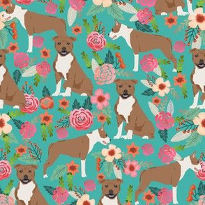 staffordshire terrier florals dog cute dog fabric sweet pet pets fabric