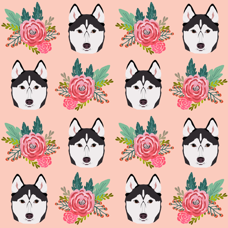 husky florals pink flower husky dog cute pet dog fabric for husky owners fabric by petfriendly on Spoonflower - custom fabric