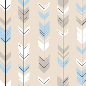 Arrow Feathers - Baby Blue/Cream - CottonWood