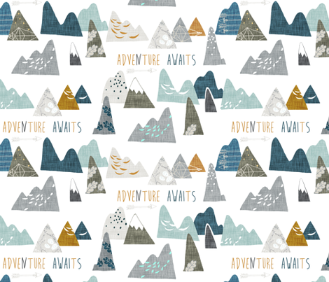 Adventure Awaits REGULAR (white)  fabric by nouveau_bohemian on Spoonflower - custom fabric