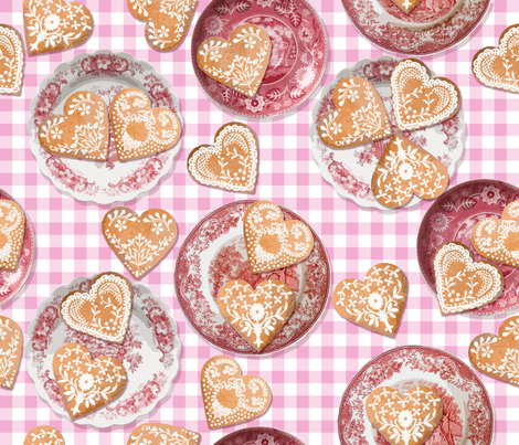 Pepparkakor Collage on Pink Gingham fabric by lilyoake on Spoonflower - custom fabric