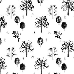 Scandinavian woodland forest fall watercolors illustration trees black and white