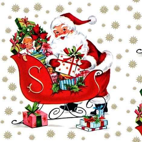 Merry Christmas Santa Claus snowflakes winter sleigh mistletoe wreaths presents gifts dolls toys vintage retro kitsch  fabric by raveneve on Spoonflower - custom fabric