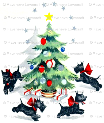 Merry Christmas  trees stars gifts presents baubles bows ribbons running Scottish Terriers Scotland dogs Scottie vintage retro kitsch