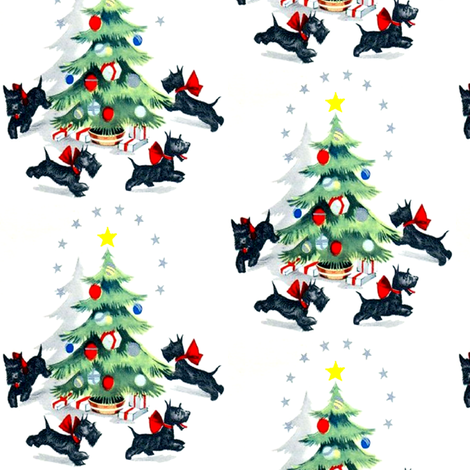 Merry Christmas  trees stars gifts presents baubles bows ribbons running Scottish Terriers Scotland dogs Scottie vintage retro kitsch fabric by raveneve on Spoonflower - custom fabric
