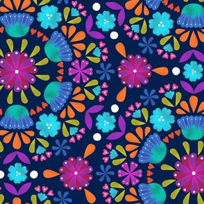 folk floral - navy - small scale