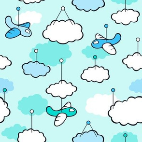Cute Airplanes and Happy clouds