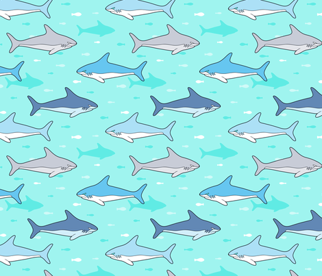 Shark and fish in the sea fabric by nossisel on Spoonflower - custom fabric