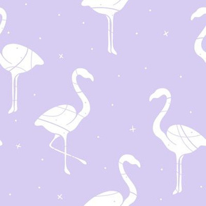Flamingo Silhouette on purple