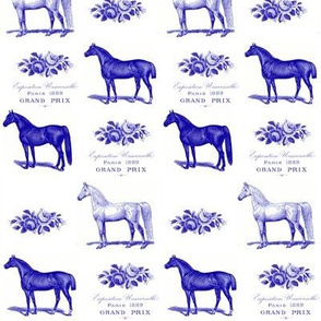Horses and Roses in Blue