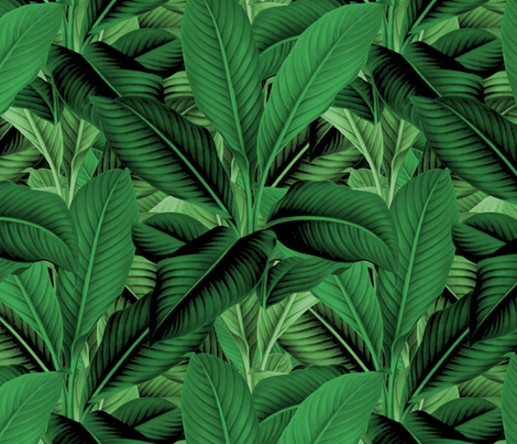 Palm In Palm ~ Jungle Green ~ Medium fabric by peacoquettedesigns on Spoonflower - custom fabric