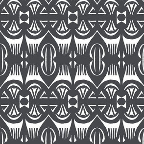 TROPICAL DRUM PRINT - Charcoal on Ivory