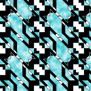 Houndstooth Flying Cat Diagonal Clouds 2