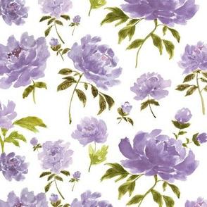 Watercolor peonies purple