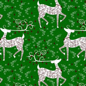 Christmas Reindeer on green lg