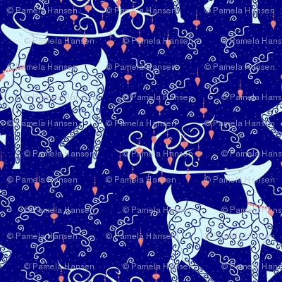 Christmas Reindeer on blue lg