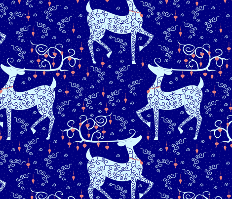 Christmas Reindeer on blue lg fabric by pamelachi on Spoonflower - custom fabric
